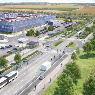 Terminus sud du TCSP EVE « Hôpital intercommunal de Marne-la-Vallée » - Cours de la Gondoire à Jossigny