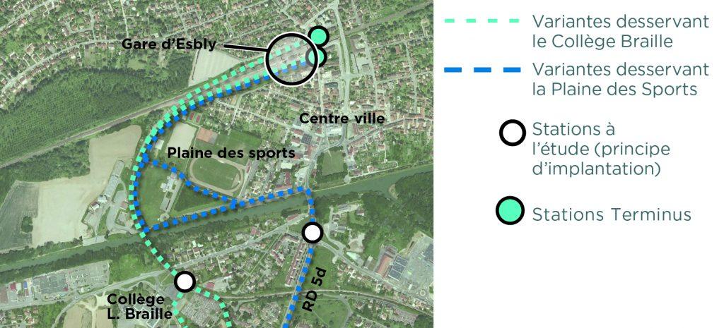 Variantes de tracé du bus EVE proposées à Esbly