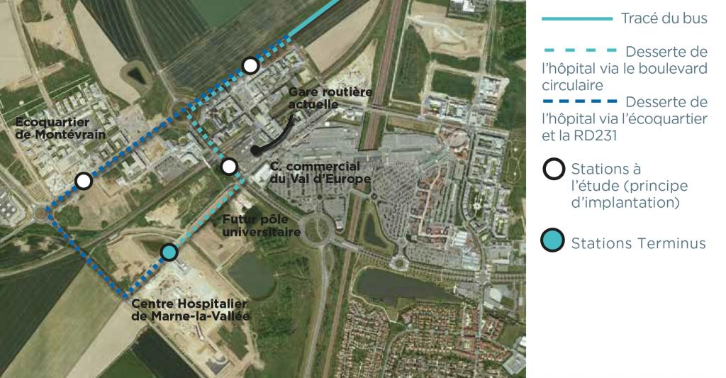 Plan présentant les variantes de tracé du bus EVE proposées au Val d'Europe